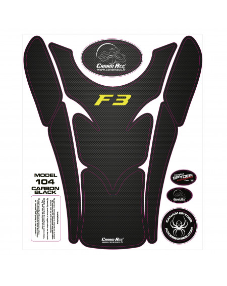 F3 TANK PADS - CRYSTAL EPOXY 104 Carbon Black F3 Yellow