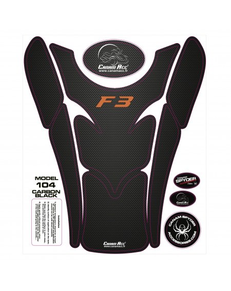F3 TANK PADS - CRYSTAL EPOXY 104 Carbon Black F3 Orange