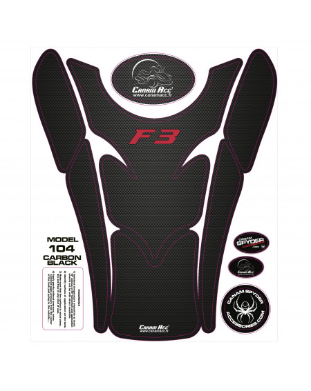 F3 TANK PADS - CRYSTAL EPOXY 104 Carbon Black F3 Red