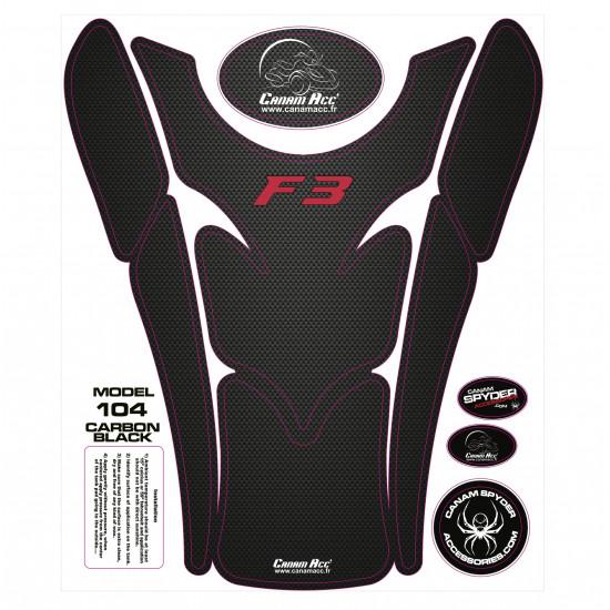 F3 TANK PADS - CRYSTAL EPOXY 104 Carbon Black F3 Red