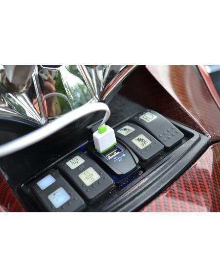 Fiche chargeur USB double (LED BLEUE)