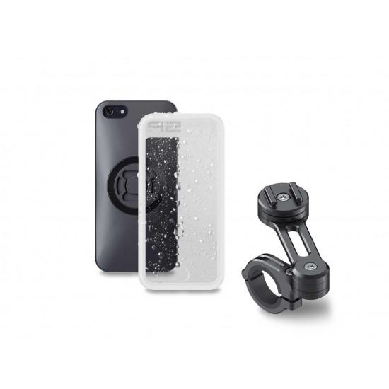 Pack complet SP-CONNECT Moto Bundle fixé sur guidon iPhone 5/SE